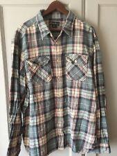Eddie Bauer Mens Plaid Flannel Cozy Camp Shirt Lt Green,Turquoise, 2XL