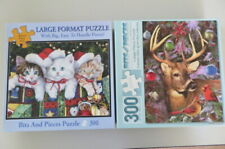 BITS AND PIECES 300 PIECE PUZZLE - MEOWY CHRISTMAS - WINTER FRIENDS - Lot of 2