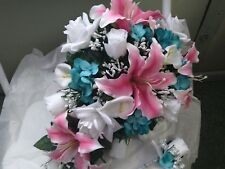 LARGE WEDDING SILK  BOUQUET WHITE CALA LILY TEAL & PINK LILIES  CASCADE & BOUT
