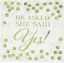 Wedding Paper Cocktail Napkins Serviettes She Said Yes Gold Table Decorations