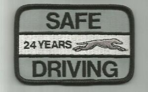 """Greyhound Bus """"24 years safe driving"""" driver patch 2-1/2 X 3-3/4 inch #4428"""