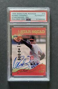 Manny Ramirez signed Indians 1995 Signature Rookies Baseball Card Psa