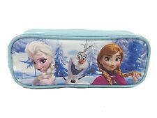 Disney Frozen Elsa Anna Pencil Case Olaf Zippered Canvas Pouch Bag - Blue
