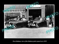 OLD LARGE HISTORIC PHOTO OF PERU INDIANA, THE POLICE HUDSON PATROL CARS c1953