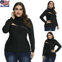Plus Size Womens Long Sleeve Tops T-Shirt Ladies Casual Zipper Hollow Blouse US