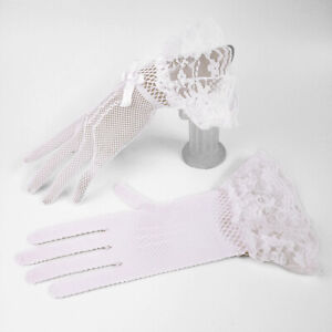 Bride Wedding Party Prom Opera Evening Dress Costume Lace/Satin Gloves US FAST