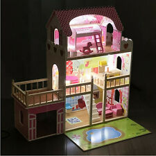 Puppenhaus aus Holz 3 Etagen Holzpuppenhaus mit LED Beleuchtung Holzspielzeug