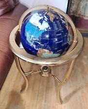 "World Globe Compass 36"" Lapis Gemstone Blue Handcrafted Gemstones Brass Base"