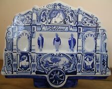 RARE Dutch Blue & White DELFT en céramique peint à la main boîte à musique, vieux wagon du cirque