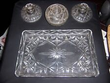 VINTAGE CUT PRESSED GLASS DRESSING TABLE SET 1 BOWL WITH LID & 2 CANDLESTICKS