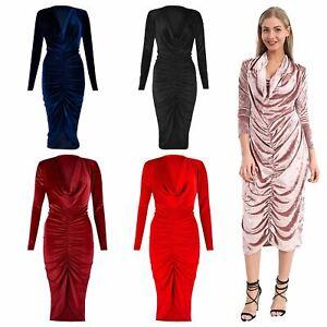 Midi Dresses For Women UK Fancy Dress Women Plus Size Dress Ruched Velvet Dress