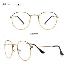 Man Women Gold Vintage Eyeglass Frame Glassess Full Rim Plain Glass Spectacles
