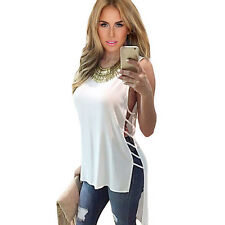 Summer Womens Vest Top Sleeveless Blouse Casual Tank Tops Hollow Party T-Shirt