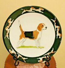 Gorgeous Hand- Painted Beagle Dog Plate Rim Charger 10.5� Signed Zeppa Kent Ct