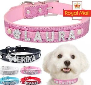 Personalised Dog Collar Leather Cat Pet Name Charms Puppy UK Tag Customised Lead