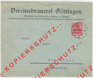 Firmenbrief-Umschlag -- VEREINSBRAUEREI GÖTTINGEN -- 1919 -- postalisch gelaufen