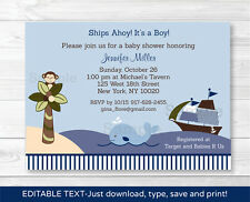Ahoy Mate Nautical Whale Island Monkey Baby Shower Invitation Editable PDF