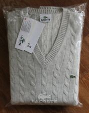 LACOSTE MENS WOOL JUMPER BNWT - XXXL - CABLE KNIT - V NECK - AH3704 - RRP £130