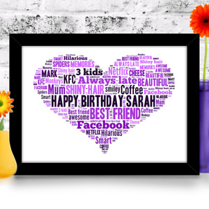 Personalised Heart Birthday gift 16th 18th 21st 30th 40th 50th 60th A4 print
