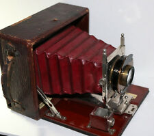 "GORGEOUS 1907 Conley box camera w/ Wallensak lens 3.5"" x 5"" glass WOOD IS SUPERB"
