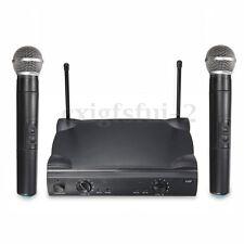 Dual Pro VHF Wireless Radio Microphone System Twin Handheld Mics DJ Kareoke