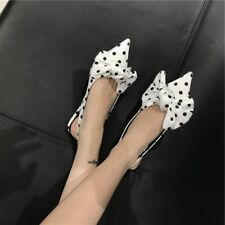 Women's Pointy Toe Ankle Strappy Slingback Pumps Ins Satin Polka Dot Flats Shoes