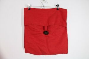 Pottery Barn Red Linen Button Square Pillow Cover Sham 18x17