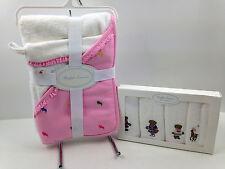 NWT Ralph Lauren Hooded Baby Bath Towel Mitt & Wash Cloth Set PINK Free Ship $90