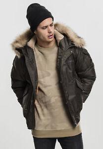 Urban Classics Hooded Heavy Fake Fur Herren Bomberjacke Olive