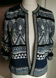 Falmer Heritage Nordic Cardigan Jacket Size 12 Blue White Retro Vintage