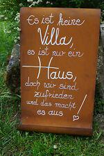 Tafel mit Welle Haus Schild Rost Garten Geschenk Schriftrolle Villa Eingang Zaun