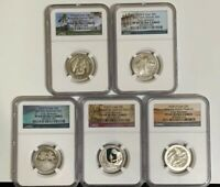 2020 S 5 COIN CLAD PROOF QUARTER SET ATB 25c EARLY RELEASES NGC PF69 Ultra Cameo