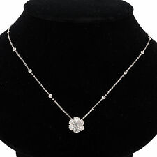 AMAZING  2.85 CTS DIAMONDS CLUSTER DBY STYLE NECKLACE CHAIN, 14K WHITE GOLD