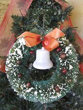 "Vintage Bottlebrush Green Wreath&Mercury Beads&Plastic Bells Xmas Ornament 4"""