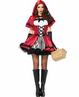 Women's Gothic Dark Red Riding Hood Halloween Costume Dress Cape Damask Set