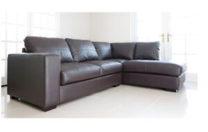 BRAND NEW WESTPOINT BIG CORNER SOFA IN BROWN FAUX LEATHER RIGHT HAND SIDE SUITE