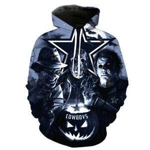 Dallas Cowboys Halloween Hoodie Sports Pullover Hooded Sweatshirt Casual Jacket