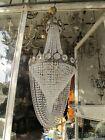 Antique French Huge Bohemia Crystal Art Nouveau Chandelier Ceiling Lamp 1940's