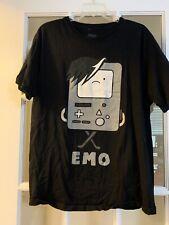 "Cartoon Network adventure time BMO ""emo"" shirt short sleeved black unisex LARGE"