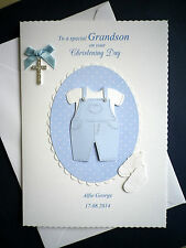 Personalised on Your Christening Day Handmade Card for Grandson Son Nephew Etc