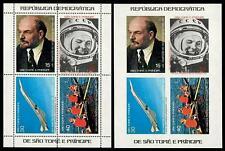 Space, Gagarin, Olympics, Lenin etc. Sao Tome 1977 Mi.blk8A+B MNH