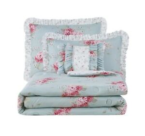 Simply Shabby Chic Queen Belle Hydrangea Comforter Set Pillow Polyester EasyCare