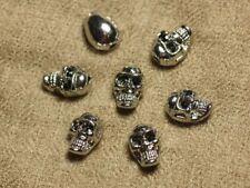 2pc - Perles Crânes Têtes de Mort Métal Argenté Rhodium 13mm   4558550022646