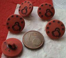 6-12 Knöpfe Kinderknöpfe 15mm Öse Pinguin Schneeflocke rot schwarz Winter Alaska