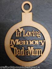 memorial baubles X 1 choose of mum &dad, mum,dad,nanny, grandad 140 x 100mm