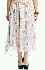 $109 MODAMIX WOMEN'S PLUS SIZE CHIFFON LINED PRINTED BELTED MAXI SKIRT Sz 20W