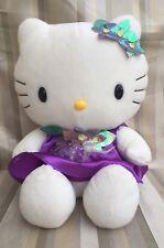 Sanrio 2002 HELLO KITTY Large Plush Purple Satin Dress & Flowers Shiny  EUC
