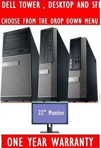 """DELL OPTIPLEX i3 i5 i7 DESKTOP TOWER SFF COMPUTER PC 2TB 8GB 22"""" WIDESCREEN TFT"""