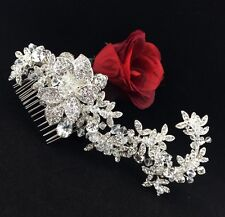 Bridal Pageant Queen Flower Tiara Hair Comb with Clear Swarovski Crystal Silver