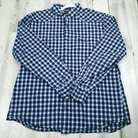 Mens XL Banana Republic Blue Plaid Slim Fit Long Sleeve Pearl Snap Shirt